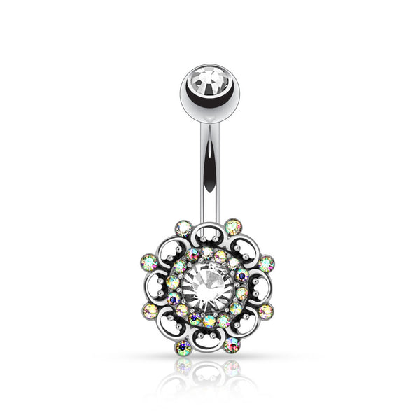 Crystal Flower Belly Button Ring