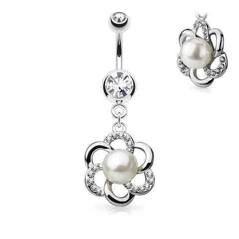 Pearl Centered Crystal Flower Belly Button Ring