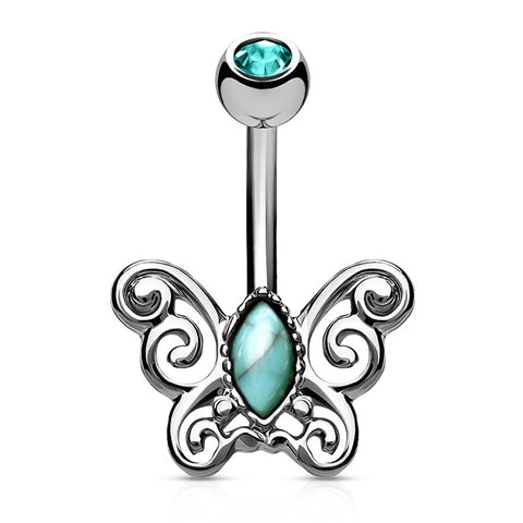 Silver Non Dangle Turquoise Centered Butterfly Belly Button Ring
