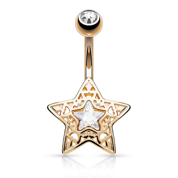 Rose Gold Non Dangle Star Belly Button Ring