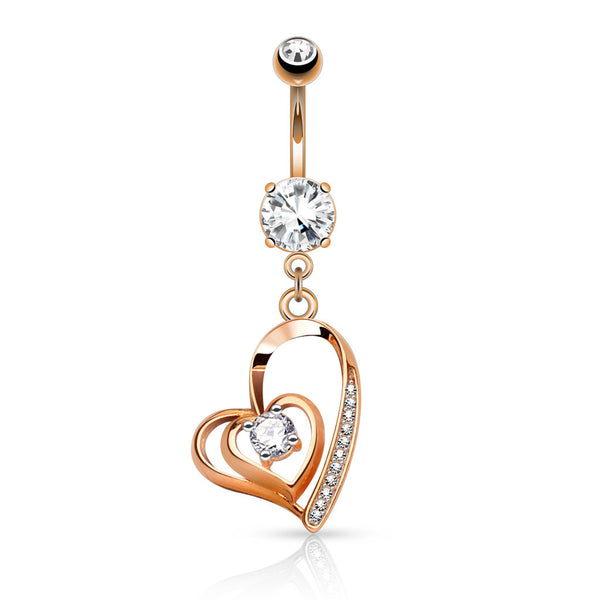 Rose Gold CZ Centered Heart Dangle Belly Button Ring
