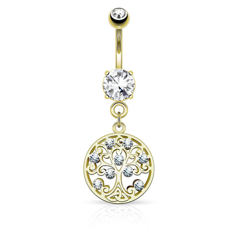 Gold Tree of Life Dangle Belly Button Ring
