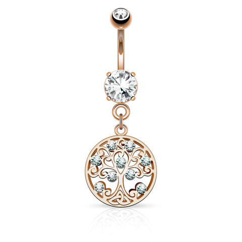 Rose Gold Tree of Life Dangle Belly Button Ring