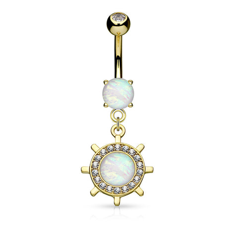 Gold Yacht Wheel Dangle Belly Ring, Opal Navel Ring