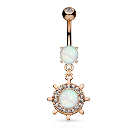 Opal Yacht Wheel Dangle Belly Ring, Rose Gold Navel Ring