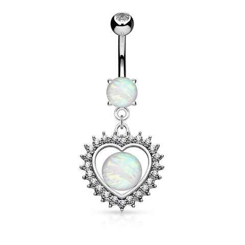 Opal Centered Heart Dangle Belly Button Ring, Crystal Love Navel Ring