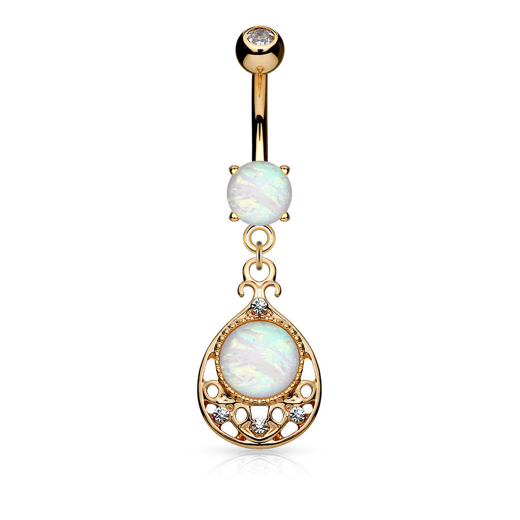 Opal Tear Drop Navel Ring Rose Gold Tear Dangle Belly Button Ring