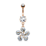 5 CZ Petals Flower Dangle Belly Button Ring | Piercing Nombril Fleur 5 Pétales Zircone