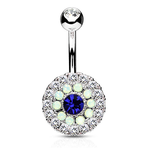 Blue CZ Centered Belly Button Ring, Non Dangle Crystal Paved Navel Ring