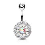Silver Triple Tiered Crystal Navel Ring, Non Dangle Paved Crystal Belly Ring