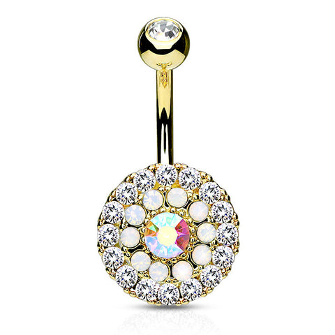Gold Triple Tiered Crystal Navel Ring, Non Dangle Paved Crystal Belly Ring