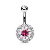 Pink CZ Centered Belly Button Ring, Non Dangle Crystal Paved Navel Ring