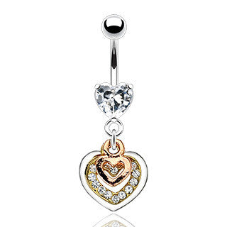 Three Dangle Hearts Belly Button Navel Rings, Heart Drop Belly Ring