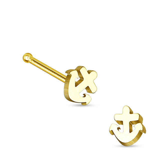 Gold Anchor Nose Stud Ring, 20G Nose Pin
