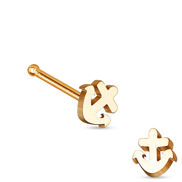 Rose Gold Anchor Nose Stud Ring, 20G Nose Pin