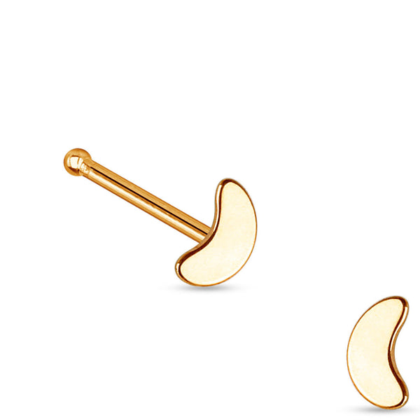 Rose Gold Moon Nose Stud Ring, 20G Crescent Nose Bone