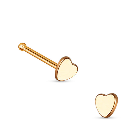Rose Gold Heart Nose Stud Ring, 20G Love Nose Pin