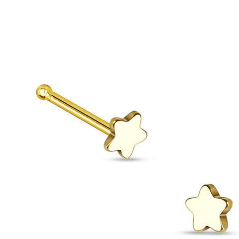 Gold Star Nose Stud Ring, 20G Love Nose Pin