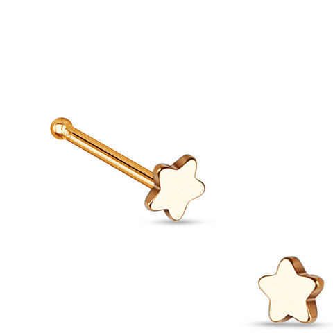 Rose Gold Star Nose Stud Ring, 20G Love Nose Pin