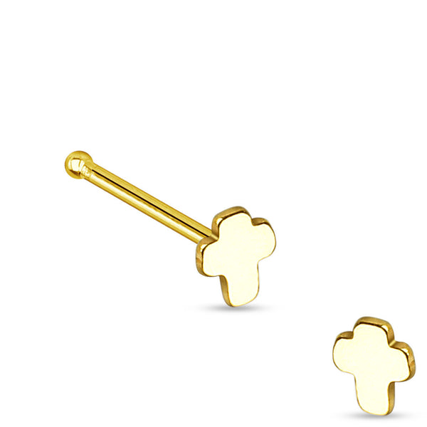 Gold Cross L Bend Nose Stud, 20g Nose Ring
