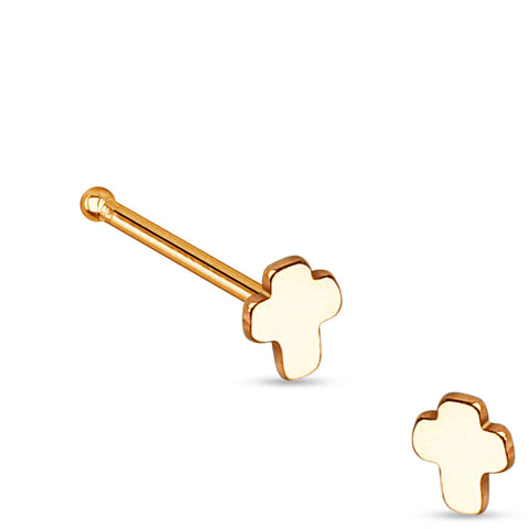 Rose Gold Cross L Bend Nose Stud, 20g Nose Ring