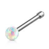 Opal Ball Nose Stud Ring, White Opal Nose Bone