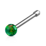 Green Opal Ball Nose Stud Ring