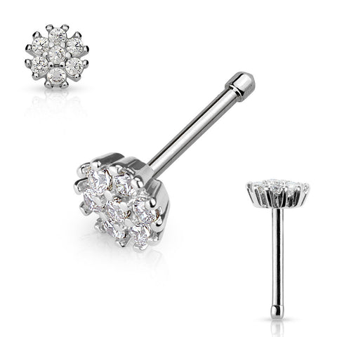 Crystal Flower Nose Stud Ring, Silver Flower Nose Bone