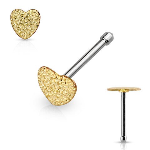 Gold Sparkling Sand Blast Finish Heart Nose Stud, 20G Love Nose Pin