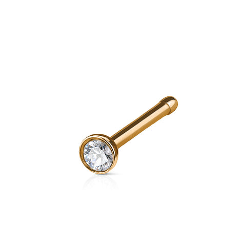 Rose Gold Flat Top Crystal Press Fit Nose Bone