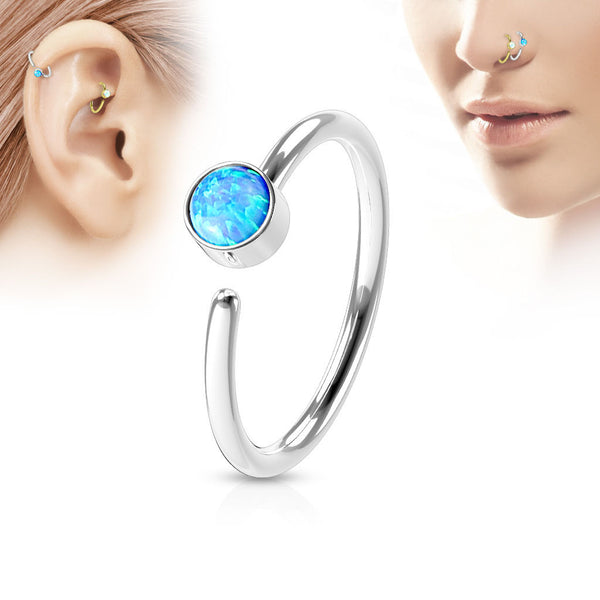 Silver Hoop Ring, Fire Blue Opal Nose / Ear Piercing Rings