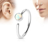 Silver Hoop Ring, White Opal Nose / Ear Piercing Rings