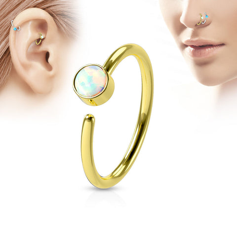 Gold Hoop Ring, White Opal Nose / Ear Piercing Rings