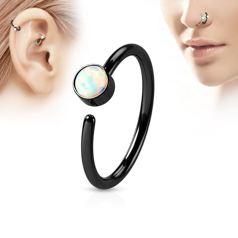 Black Hoop Ring, White Opal Nose / Ear Piercing Rings