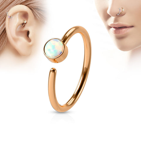 Rose Gold Annealed Hoop Ring, 20G Opal Nose / Ear Piercing Ring