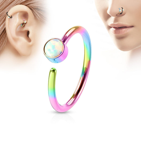 Rainbow Annealed Hoop Ring, 20G Opal Nose / Ear Piercing Ring