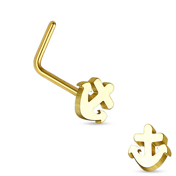 Gold Anchor L Bend Nose Stud, 20G Nose Ring