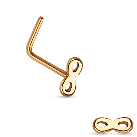 Rose Gold Infinity L Bend Nose Stud Ring