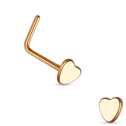 Rose Gold Heart L Bend Nose Stud, 20g Nose Ring