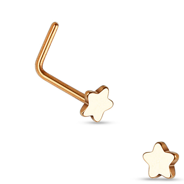 Rose Gold Star L Bend Nose Stud, 20G Nose Ring