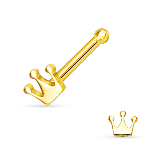 Gold Crown Nose Stud Ring, 20 Gauge Nose Bone