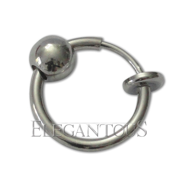 Fake Silver Nose, Lip, Ear Hoop, Steel Spring Action