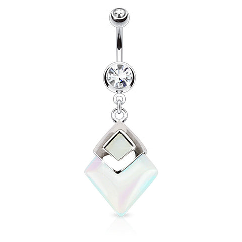 Geometric Opalite Belly Ring, Precious Stone Drop Dangle Navel Ring