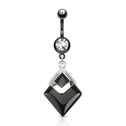 Black Geometric Agate Dangle Belly Ring