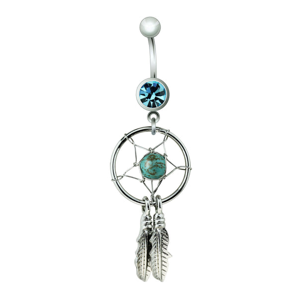 Turquoise Stone Centered Dream Catcher Dangle Belly Button Ring
