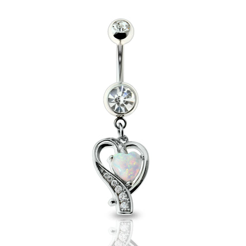 Crystal Paved Ribbon Heart Glitter Opal Dangle Belly Ring