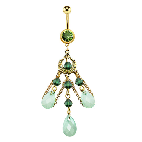 Tear Drop Jade Bead Chandelier Chain Dangle Navel Ring