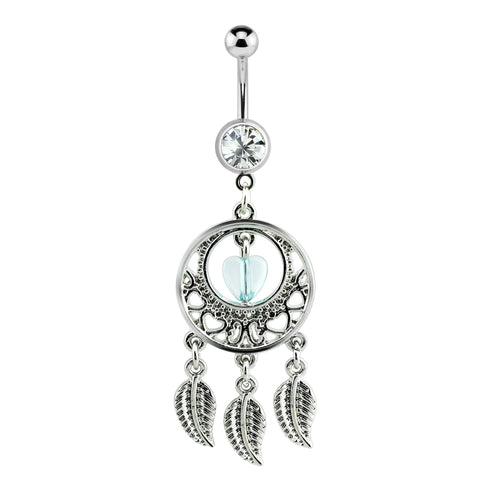 Silver Heart Clustered Dream Catcher Dangle Belly Ring