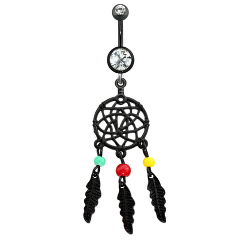 Black Multi Bead Dream Catcher Dangle Belly Ring