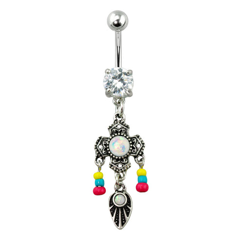 Vintage Tribal Silver Glitter Opal Cross Bead Dangle Belly Button Ring